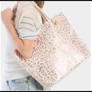 Rose Gold Leopard Bag XL Tote or Beach Bag